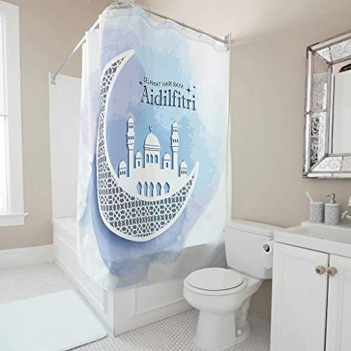 Lind88 Lasser Bairam patronen afdrukken douchegordijn gepersonaliseerd wasbaar bad gordijnen haken inbegrepen - Iftar voor appartement decoreren