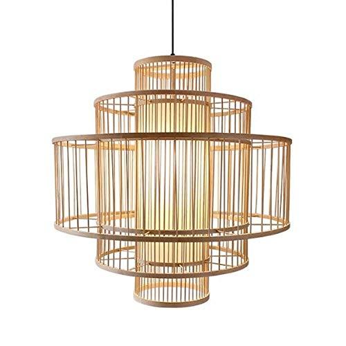 Fine Asianliving Pendelleuchte Hängelampe Bambus Handgefertigt - Lena - D50cm Pendelleuchte Beleuchtung Bambus Lampenschirm Geflochten Lampe Belechtung Rotan