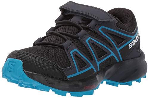 Salomon Kinder Trailrunning-Schuhe, SPEEDCROSS BUNGEE K, Farbe: Schwarz/Blau (Black/Graphite/Hawaiian Surf), Größe: 28