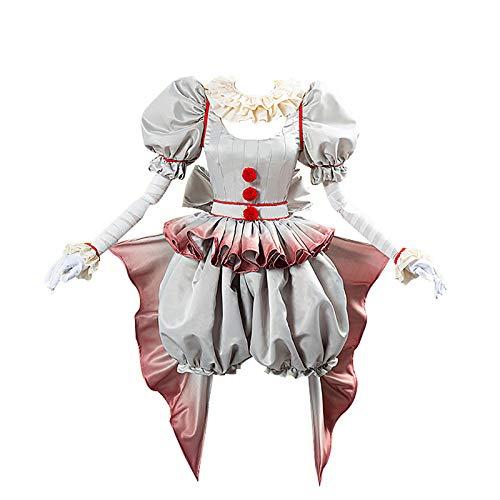 Asesino Payaso IT Cosplay Clown Costume Lady Stephen King Vintage Disfraz para Halloween Adulto Terror Payaso Outfit Juego 6 Piezas,Gris,XXXL