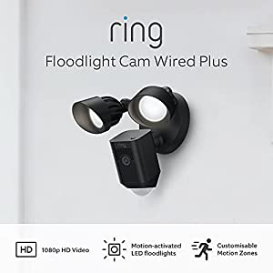 All-new Ring Floodlight Cam Wired Plus by Amazon   1080p HD Video, motion-activated LED floodlights, built-in siren, hardwired installation   With 30-day free trial of Ring Protect Plan   Black
