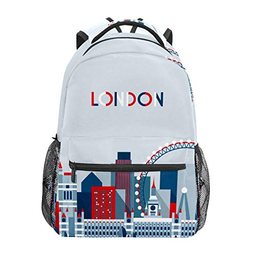 School Backpack Cartoon London Architecture Ferris Wheel Casual Travel Laptop Daypack Canvas Book Bags for Woman Girls Boys Student Adult Men