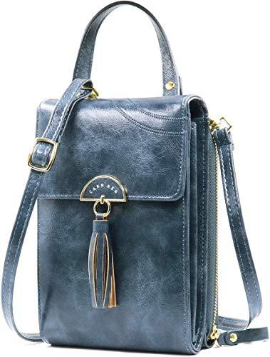 HK5G Handtasche Damen Umhängetasche Handytasche Zum Umhängen Geldbörse Portemonnaie mit Vielen Fächern Kartenfach - Verstellbare Schultergurte (2 Navy blue)