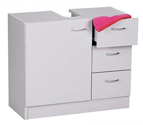 FineBuy Mueble de Lavabo 54 x 63 x 30 cm Blanco con Puerta y 3 cajones | Armario de baño pequeño para Lavabo