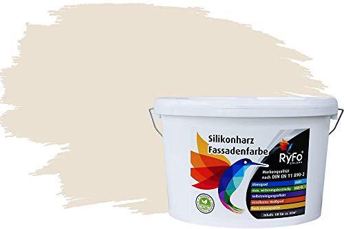 RyFo Colors Silikonharz Fassadenfarbe Lotuseffekt Trend Weißtöne Cremé 10l - bunte Fassadenfarbe, weitere Weiß Farbtöne und Größen erhältlich, Deckkraft Klasse 1