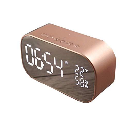 Reloj de noche, reloj despertador ajustable Explotado en el dormitorio, micrófono incorporado Radiocomunicaciones FM inalámbrico, ranura para tarjeta TF Snooze con termómetro y puerto de carga USB, re