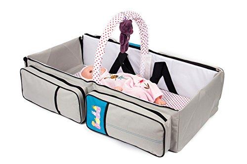 2 in 1 Wickeltasche Pflegetasche Babytasche Reise Babybett Moskitonetz (grau)