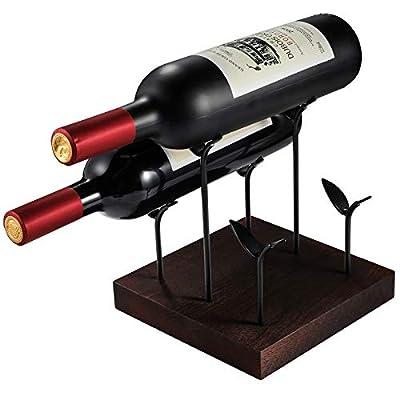 Amazon - Save 25%: TJ.MOREE Countertop Wine Rack, Rustic Wooden Wine Holder, Holds 3 Wine Bottl…