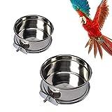 Parrot Food Bowl, 2pcs Cuenco Colgante de Acero Inoxidable para pájaros y Comida,comedero de Jaula para pájaros ,Animal Pájaro con Soporte Abrazadera para Alimentador de Comida Agua de Loro Aves