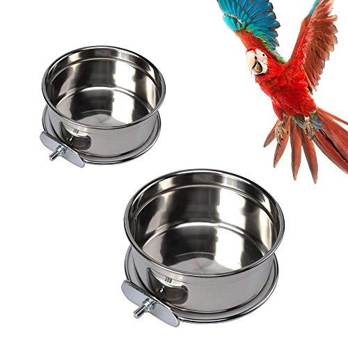 Vogel Fütterung Näpfe 2 Stück Vogelfutterschalen Tassen Edelstahl Papageien-Futterbecher Tierkäfig Wasser Futternapf Vogelkäfig Tassen Halter mit Klemme Halter für Vögel Papageien Wasser Futterschale