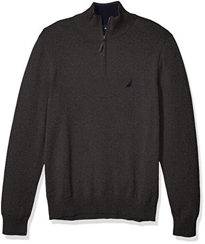 Nautica Men's Classic Fit Quarter Zip Sweater, Charcoal Heather, Large