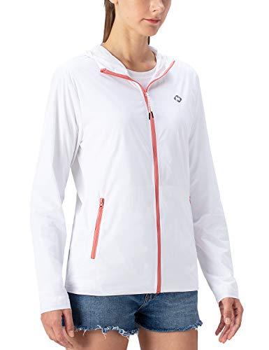 Naviskin Women's UPF 50+ Sun Protection Hooded Qucik Dry Lightweight Long Sleeve Zip Up Packable Jacket White Size L