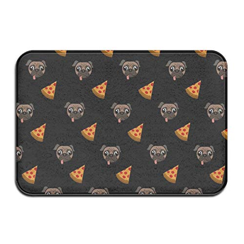 D-M-L 40X60CM Bath Mat Flannel Non Slip Bath Rug Door Mat Floor Mat Pug Pizza