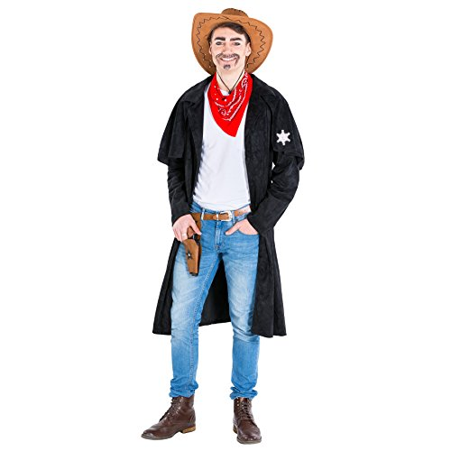 TecTake dressforfun Herrenkostüm Cowboy | Trenchcoat + rotes Halstuch | Sheriff Cowgirl Faschingskostüm (XXL | Nr. 300573)