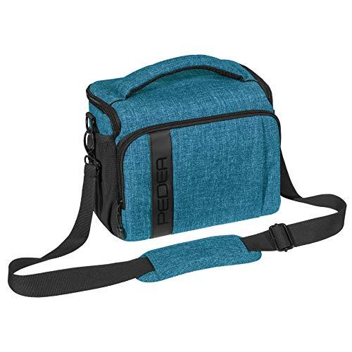 PEDEA DSLR-Kameratasche Fashion Fototasche für Spiegelreflexkameras mit wasserdichtem Regenschutz, Tragegurt und Zubehörfächern (Größe XL, blau)