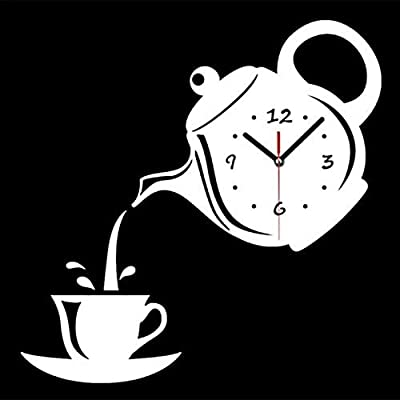 Nazaka | Wall Clock | 1 Piece Teapot Wall Clock Watch Mirror Coffee Cup Wall Watch