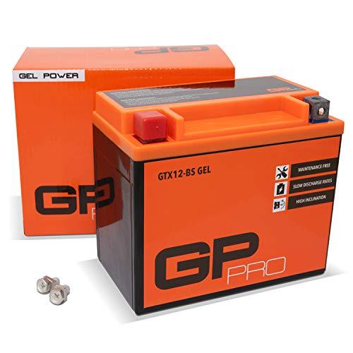 GP-PRO GTX12-BS 12V 10Ah GEL Batería de arranque (compatible con YTX12-BS / 51012) (Sin necesidad de mantenimiento/Sellado) Moto Acumulador