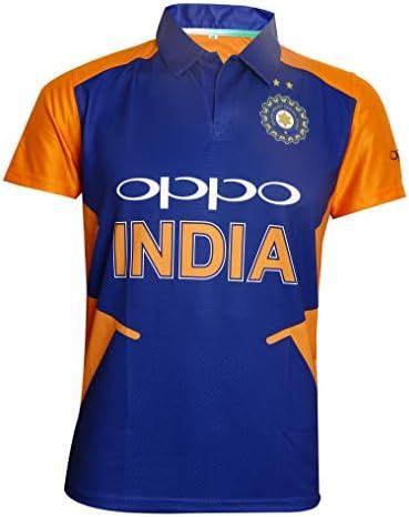 KD Cricket Team India Away Jersey Half Sleeve Cricket Supporter T-Shirt New Orange Team Uniform Polyster Fit Material 2019-20