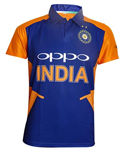 KD Cricket Team India Away Jersey Half Sleeve Cricket Supporter T-Shirt New Orange Team Uniform Polyster Fit Material 2019-20 (Plain,38)