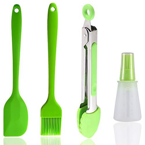 PIGPIGFLY Küchenhelfer aus Silikon, 4 Teile, Küchenpinzetten aus Edelstahl, Zange für Toasten, Fleischpinsel, Silikonpinsel für die Küche, Spachtel und Küche