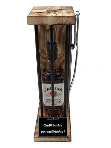 * Personalisierbar Die Eiserne Reserve ® Black Edition mit Jim Beam 0,70L incl. Bügelsäge zum zersägen der Stäbe - Die lustige Geschenkidee.