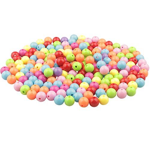 Yixuan LLC Pony Beads 200pcs 12mm Craft Granos Granos Pequeños colorido acrílico perlas de perlas de plástico El color del caramelo
