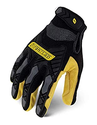 Ironclad Command Impact Goatskin Leather Work Gloves; Touch Screen Gloves Conductive Index Finger, Impact Protection, Machine Washable, Sized S, M, L, XL, XXL (1 Pair)