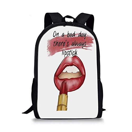AOOEDM Backpack - Bolso Escolar con Estilo para niñas, Mal día, Buen Maquillaje, Cita de Belleza Sensual, Tema de Amuleto, impresión artística inspiradora, Decorativa para niños, 11 'L x 5' W