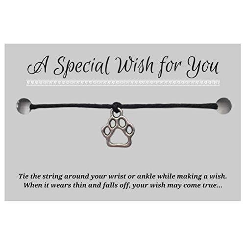 Paw Print Black Wish Bracelet - Hemp with Silver Tone Charm on Printed Card - Adjustable - Unisex