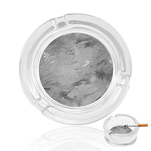 Cenicero de cigarrillo de vidrio transparente antideslizante, bandeja redonda utilizada para fumadores, decoración de jardín y regalo, tonos tierra gris plata grafito mármol