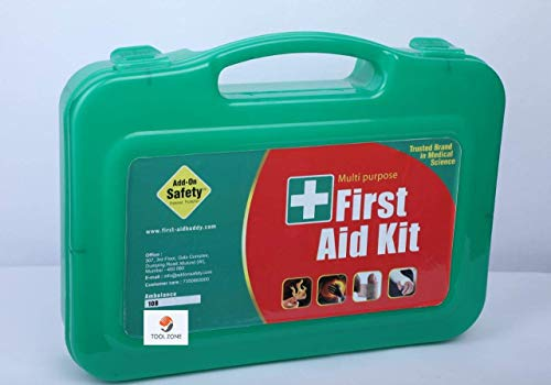 Tool Zone Plastic First Aid Kit Storage Box- AK1-1 Set with Medicine (Green Plastic Case)