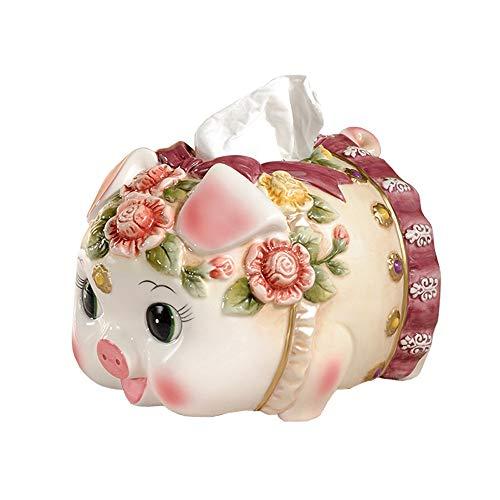 El tejido de cerámica cubierta de la caja Holder, Decoración cerdo lindo servilleta de la forma cuadro titular, pintado a mano colección de Arte dispensador de papel, único estreno de una casa del reg