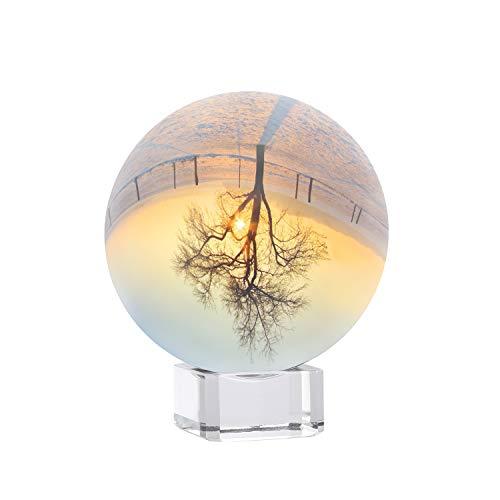 Siumir Boule de Cristal avec Base en Cristal, K9 Clair Sphère de Cristal 80 mm Boule en Verre pour la Photographie, la Décoration, Méditation