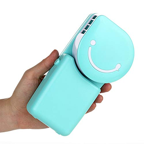 Q-QQ9 Smiley Handheld air Conditioning Fan/Mini Charging small Fan/Portable Handheld leafless Fan*Blue*A MMM