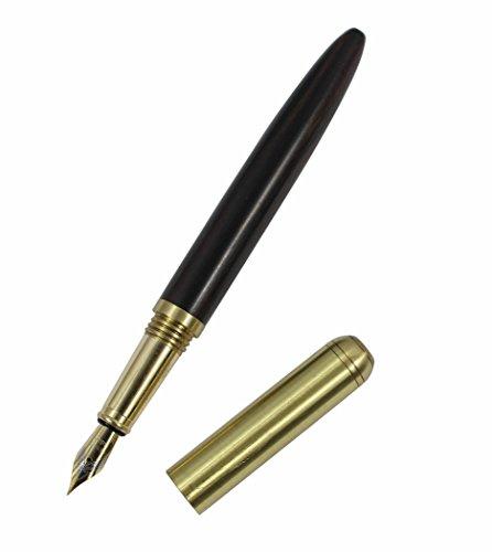 Hillento di alta qualità penna stilografica in legno legno cancelleria ufficio commerciale fornisce legno penna stilografica artigianale 0,7 millimetri, legno nero