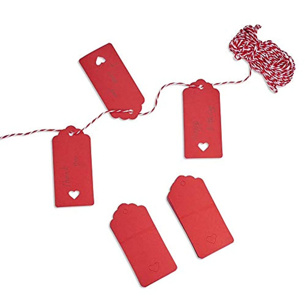 PH PandaHall 100PCS Red Kraft Gift Tags Blank Paper Hang Tags Price Tags with 65 Feet String for Wedding Christmas Day Thanksgiving DIY Craft(95x45mm)