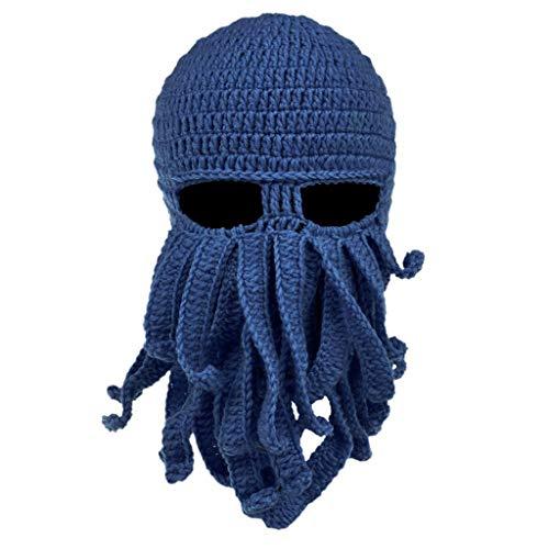 museourstyty Men Women Creative Funny Tentacle Octopus Knitted Hat Long Beard Beanie Cap Balaclava Winter Warm Halloween Costume Cosplay Mask