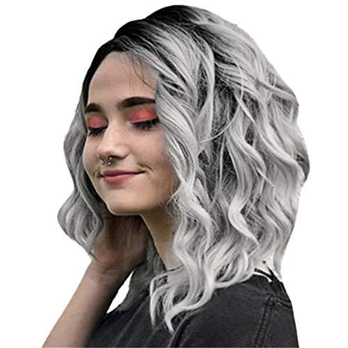 FBGood Perruque - Perruque Cheveux Nouveau Féminin Bruns Bouclés Ondulés Glamour - Perruque Courte en Rouleau Teint Gris et Noir (gris)