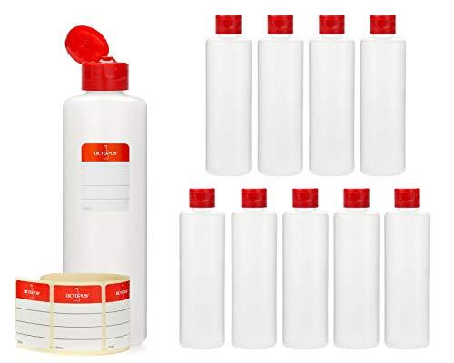 Octopus 10 x 250 ml Kunststoffflaschen, HDPE Plastikflaschen mit rotem Klappverschluss, Leerflaschen mit rotem Scharnierverschluss, Rundflaschen inkl. 10 Beschriftungsetiketten