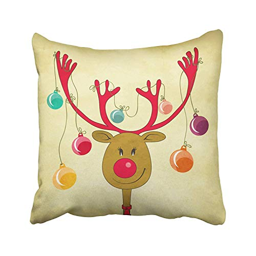 JUCHen Rudolph The Red Nose Reindeer with Christmas Tree Baubles Tied to His Antlers Cartoon Style Greeting Throw Pillow Cover Square 18x18 Inches Pillowcase Home Decor Cushion Pillow Case