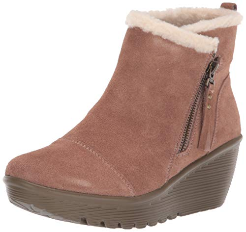 Skechers Women's Parallel-Zip up Wedge Casual Comfort Ankle Boot Fashion, Mushroom, 11 M US