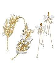 1 set di accessori da sposa Cerchietto per capelli con fascia in strass fiore in lega con orecchini