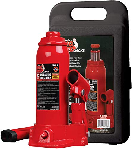 BIG RED T90213 Torin Hydraulic Welded Bottle Jack with Blow Mold Carrying Storage Case, 2 Ton (4,000 lb) Capacity, Red