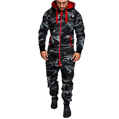 Ansenesna Hose Herren Overall Winter Mit Kapuze Hoodie Jumpsuit Männer Reißverschluss Lang Regular Fit Latzhose (Camouflage,L)