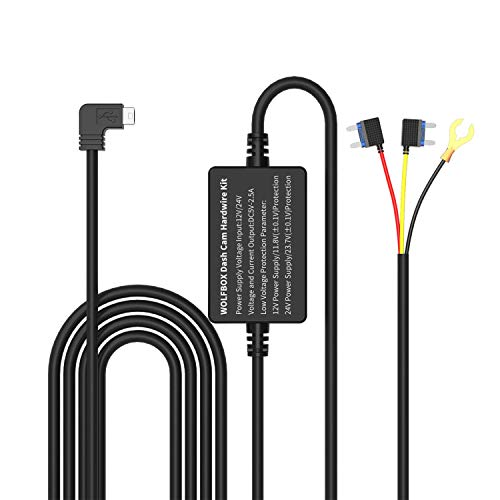 WOLFBOX Hardwire Kit for Mirror Dash Cam, Hardwire Kit Mini USB Hard Wire Car Charger Cable Kit 12V- 24V to 5V for Dash Cameras GPS Sat-Nav with Battery Drain Protection