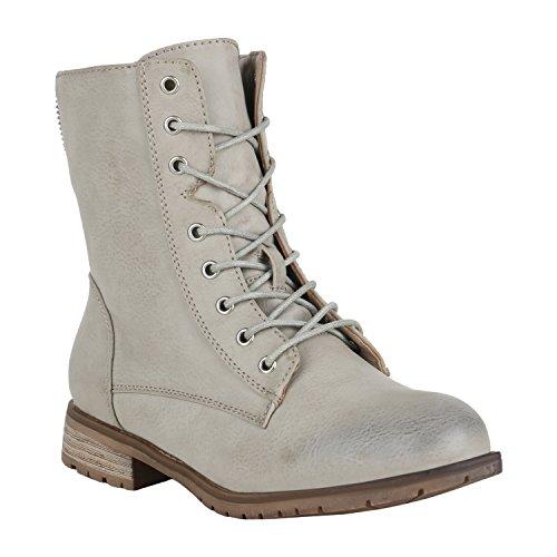 stiefelparadies Damen Stiefel Leicht Gefütterte Stiefeletten Schnürstiefeletten Schuhe 150122 Hellgrau Berkley 38 Flandell