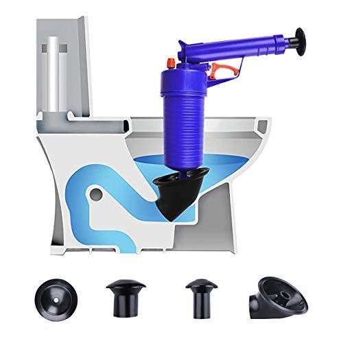 WC-plunjer, luchtafvoerblaster, drukpompreiniger, hogedruk-zuiger opener pomp voor toiletten, badkamer, douche, wastafel, bad, keuken gesloten pijp (blauw)