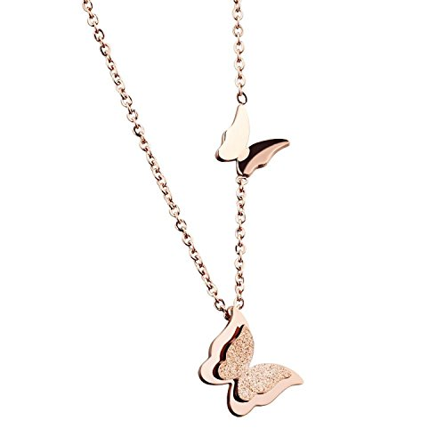 Forfamilyltd Womens Sterling Silver Dimensional 3D Double Butterfly Pendant Necklace, Adjustable Rolo Chain