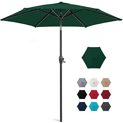 Best Choice Products 7.5ft Heavy-Duty Round Outdoor Market Patio Umbrella w/Steel Pole, Push Button Tilt, Easy Crank Lift - Green