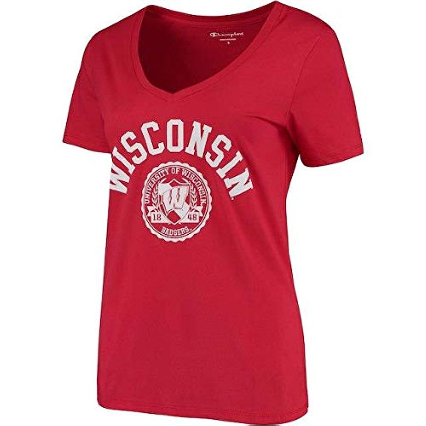フェリー予想する以前はChampion Champion Wisconsin Badgers Women's Red College Seal V-Neck T-Shirt スポーツ用品 【並行輸入品】